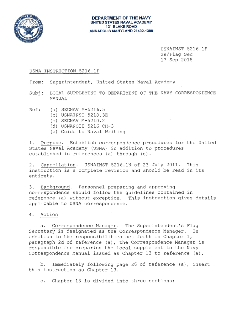 usnainst usna instruction united naval academy rh studylib net navy instructions manual on leave navy awards instruction manual