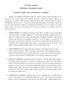 US Naval Academy Midshipmen Development Center INFORMED CONSENT AND CONFIDENTALITY STATEMENT