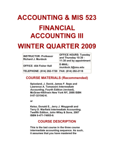 ACCOUNTING & MIS 523 FINANCIAL ACCOUNTING III WINTER QUARTER 2009