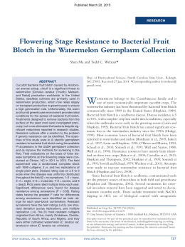 W Flowering Stage Resistance to Bacterial Fruit *