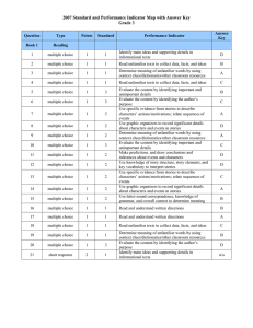 2007 Standard and Performance Indicator Map with Answer Key Grade 3