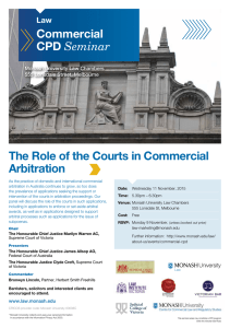 The Role of the Courts in Commercial Arbitration Commercial CPD