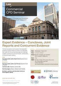 Expert Evidence – Conclaves, Joint Reports and Concurrent Evidence Commercial CPD Seminar