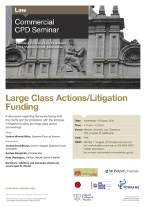 Large Class Actions/Litigation Funding Commercial CPD Seminar