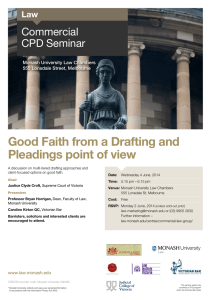Good Faith from a Drafting and Pleadings point of view Commercial CPD Seminar