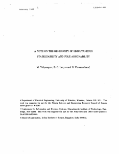 A GENERICITY  OF  SIMULTANEOUS STABILIZABILITY  AND  POLE ASSIGNABILITY