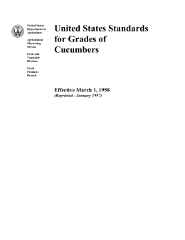 United States Standards for Grades of Cucumbers