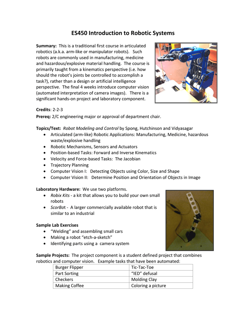 ES450 Introduction to Robotic Systems