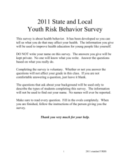 2011 State and Local Youth Risk Behavior Survey