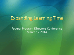 Federal Program Directors Conference March 12 2014