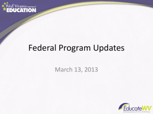 Federal Program Updates March 13, 2013