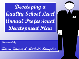 Developing a Quality School Level Annual Professional Development Plan