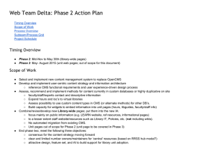 Web Team Delta: Phase 2 Action Plan Timing Overview Scope of Work