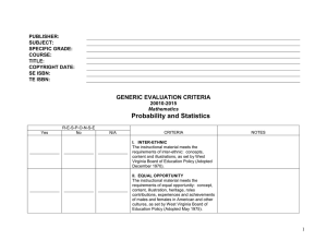 Probability and Statistics  GENERIC EVALUATION CRITERIA PUBLISHER: