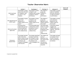 Teacher Observation Rubric