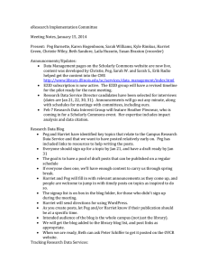 eResearch Implementation Committee  Meeting Notes, January 15, 2014