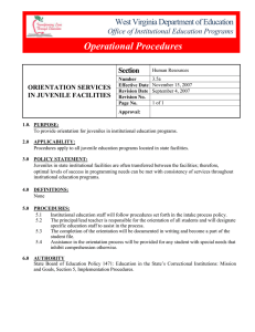 Operational Procedures West Virginia Department of Education Section Office of Institutional Education Programs