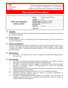 Operational Procedures West Virginia Department of Education Office of Institutional Education Programs
