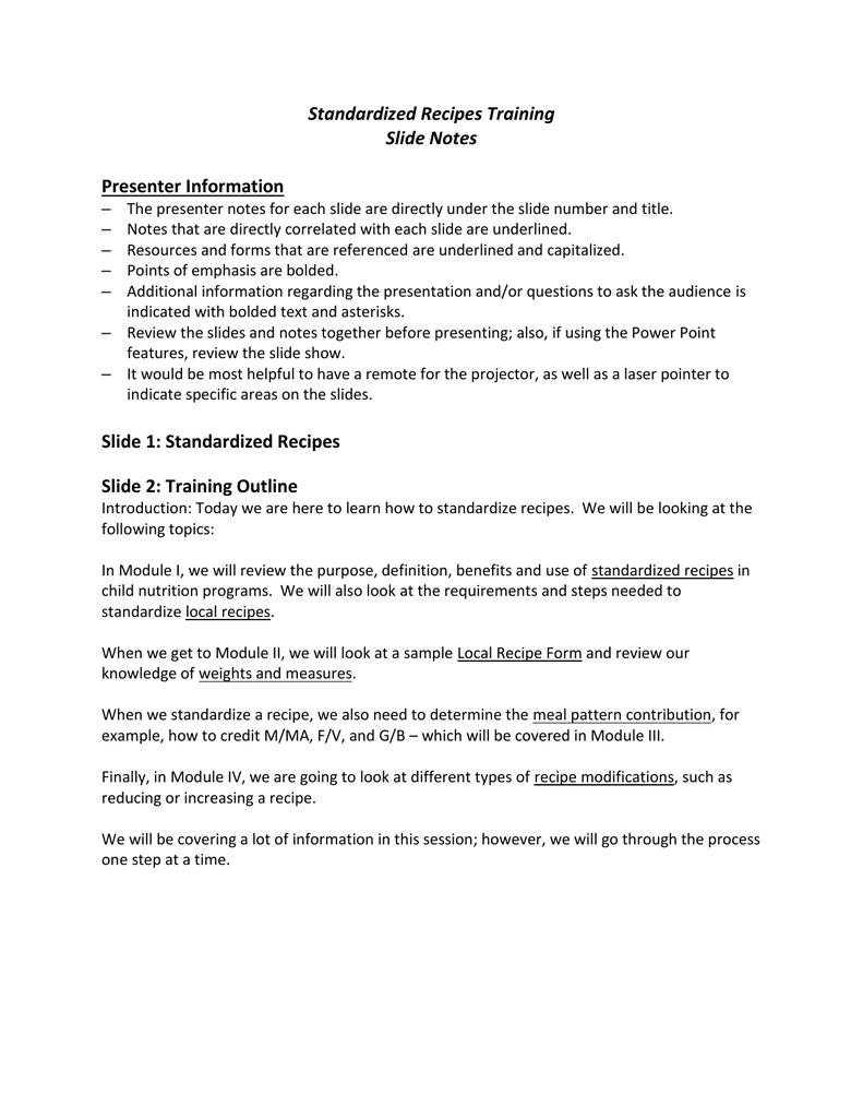 Standardized Recipes Training Slide Notes Presenter Information