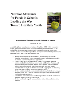 Nutrition Standards for Foods in Schools: Leading the Way