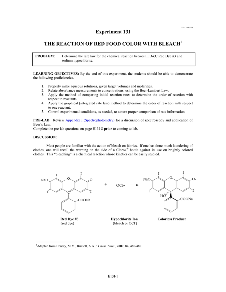 worksheet Reactions In Aqueous Solutions Worksheet experiment 13i the reaction of red food color with bleach