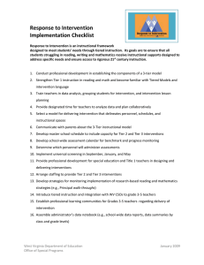 Response to Intervention Implementation Checklist