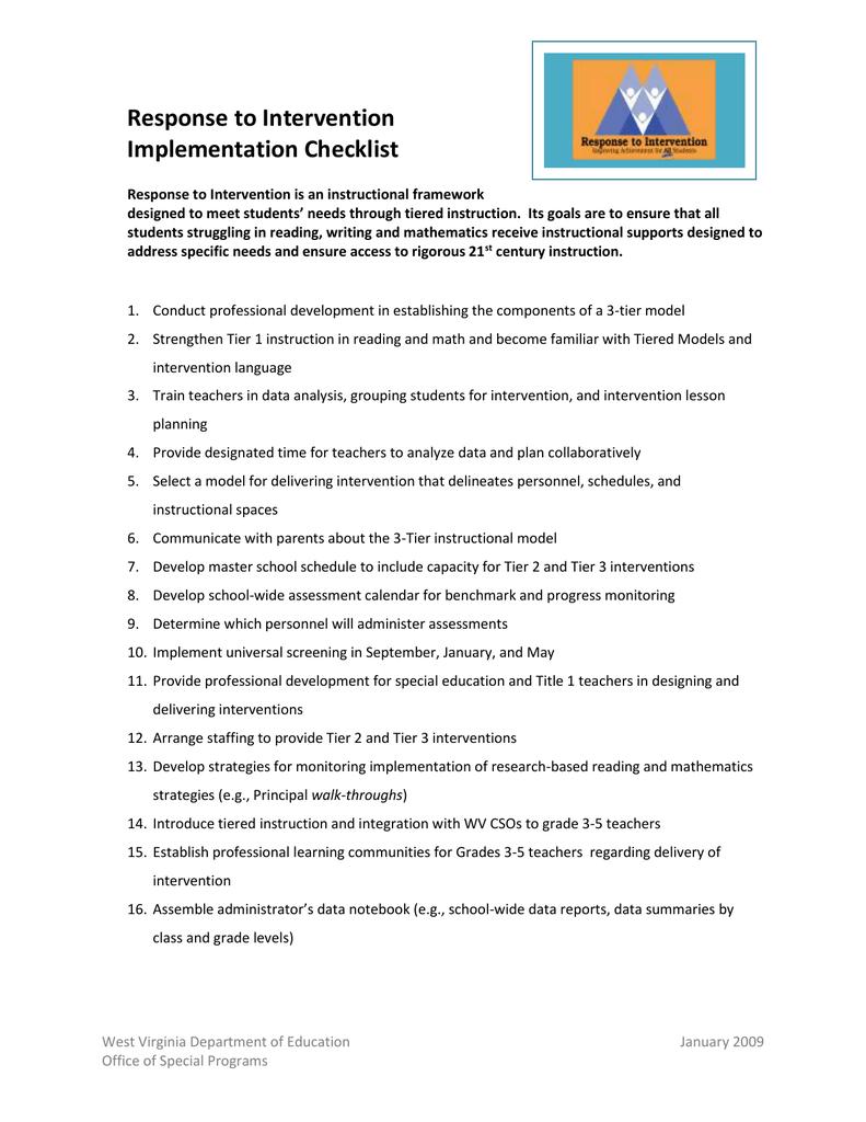 Response To Intervention Implementation Checklist