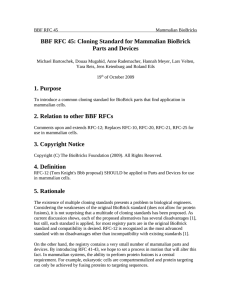 BBF RFC 45: Cloning Standard for Mammalian BioBrick Parts and Devices
