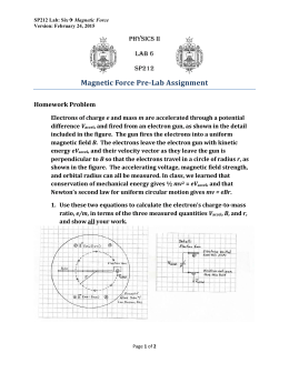 Magnetic	Force	Pre‐Lab	Assignment PHYSICS II