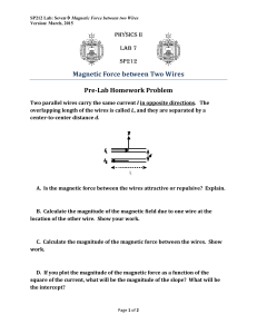 Magnetic	Force	between	Two	Wires Pre‐Lab	Homework	Problem PHYSICS II