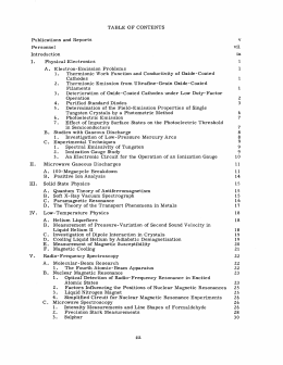 TABLE  OF  CONTENTS v Publications  and  Reports Personnel