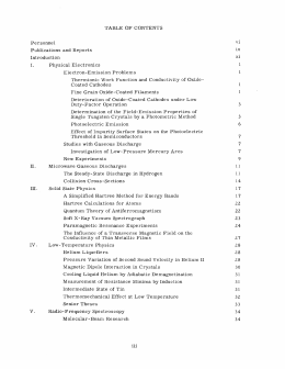 TABLE  OF  CONTENTS vi ix Publications  and  Reports