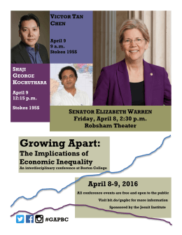 Growing Apart: The Implications of Economic Inequality April 8-9, 2016