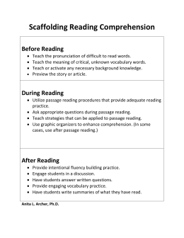 Scaffolding Reading Comprehension  Before Reading During Reading