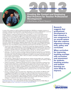 2013 Creating the Context and Employing Best Practices for Teacher Professional Development: