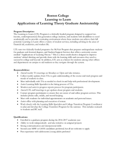 Boston College Learning to Learn Applications of Learning Theory Graduate Assistantship
