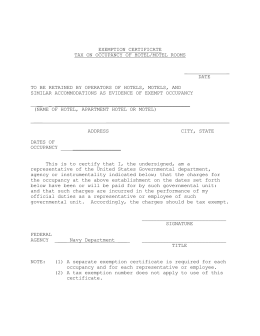 TEXAS HOTEL OCCUPANCY TAX EXEMPTION CERTIFICATE CLEAR FORM