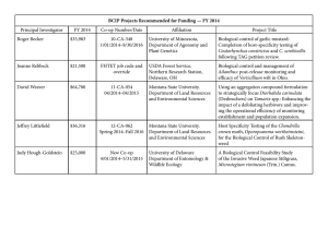 BCIP Projects Recommended for Funding — FY 2014 Principal Investigator FY 2014