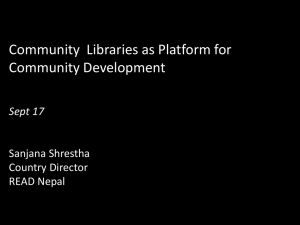 Community  Libraries as Platform for Community Development  Sanjana Shrestha