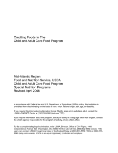 Crediting Foods In The Child and Adult Care Food Program Mid-Atlantic Region