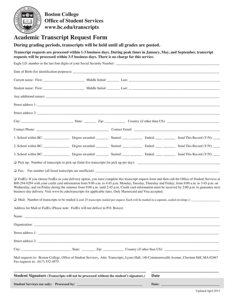 Academic Transcript Request Form Boston College Office of Student – Transcript Request Form