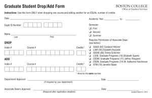 Graduate Student Drop/Add Form BOSTON COLLEGE ❑