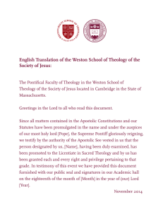 English Translation of the Weston School of Theology of the