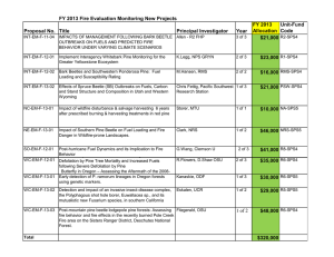 FY 2013 Fire Evaluation Monitoring New Projects FY 2013 Unit-Fund Proposal No. Title