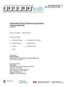 Automated Drug Dispensing Systems: Literature Review FOR CIRCULATION X