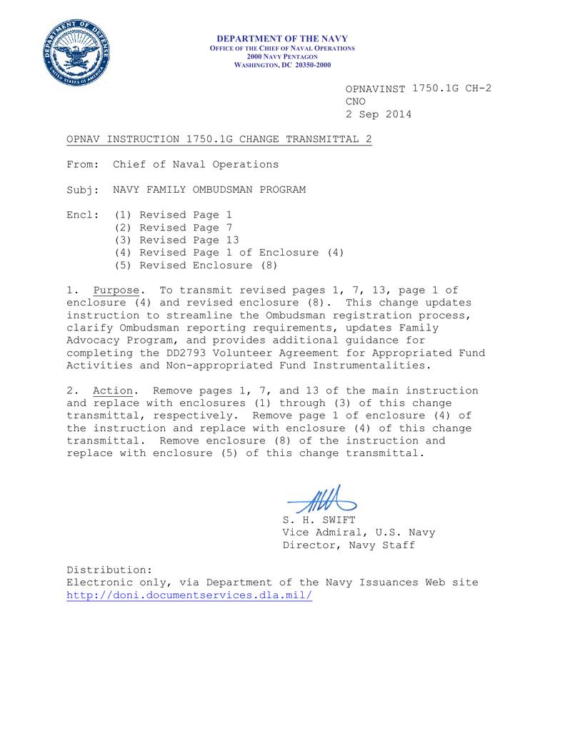 Cno 2 Sep 2014 Opnav Instruction 17501g Change Transmittal 2