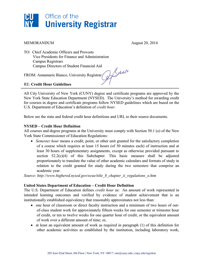 Memorandum August 20 2014 To Chief Academic Officers And Provosts