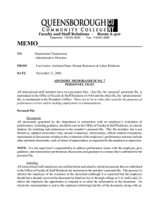 MEMO__________________________________  Faculty and Staff Relations   - Room A-410