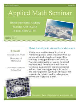 Seminar Applied Math Seminar Phase transition in atmospheric dynamics