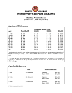 BOSTON COLLEGE Contributory Group Life Insurance Monthly Premium Rates